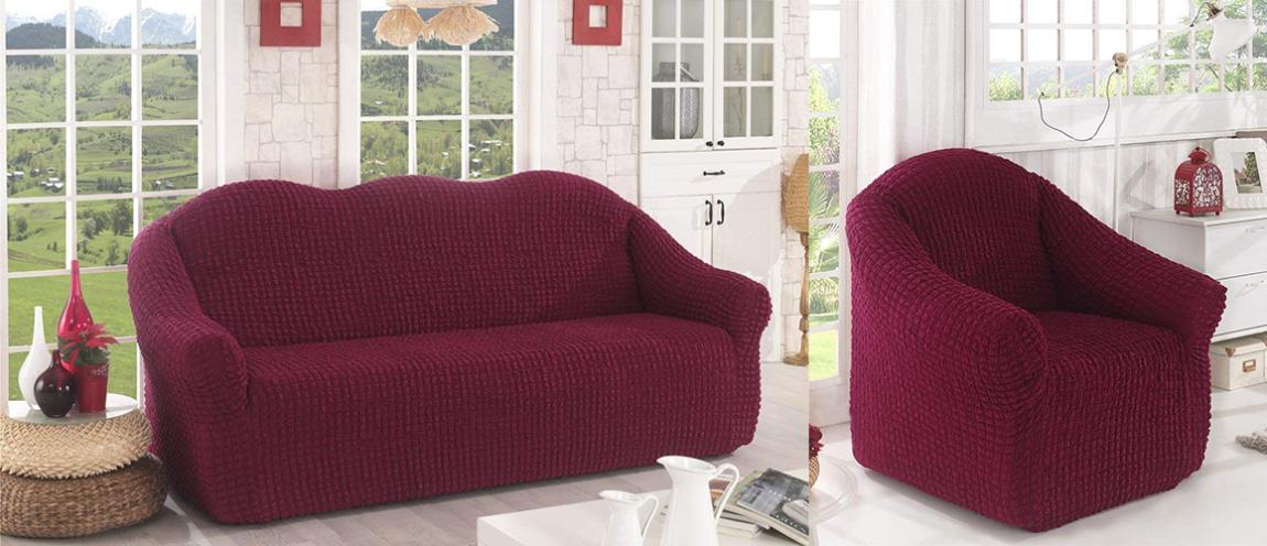 Bild von einem Sesselbezug und Sofabezug in weinrot.